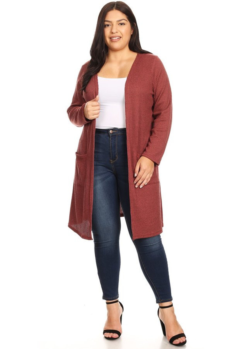 Women's Plus Size Waffle Knit Maxi Cardigan