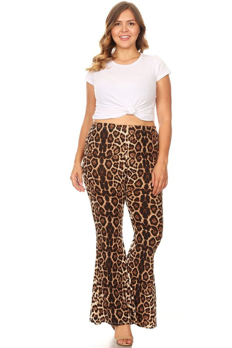 Plus Size Animal Print Wide Leg High Waisted Flare Pant