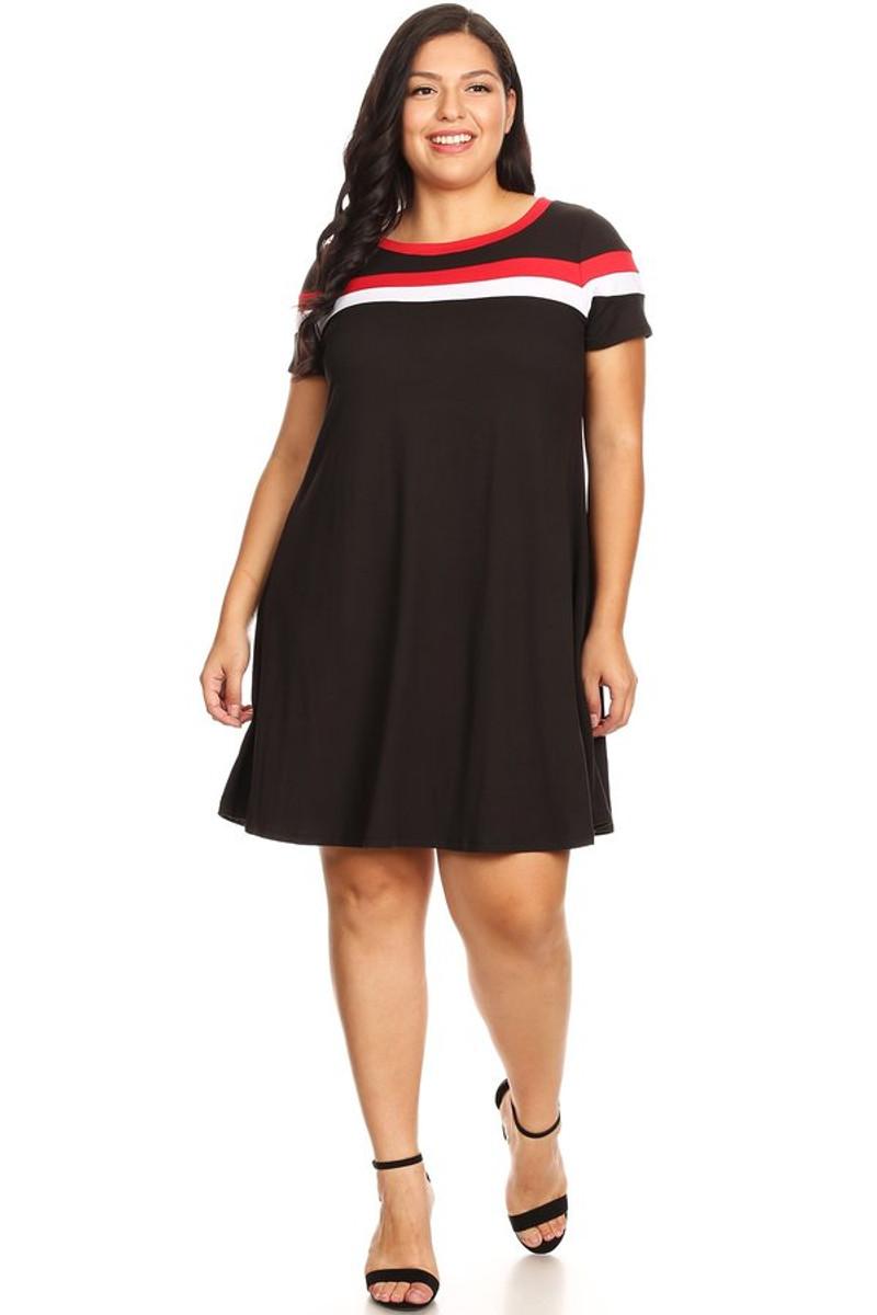 Plus Size Brushed Stripe Insert Ringer Dress