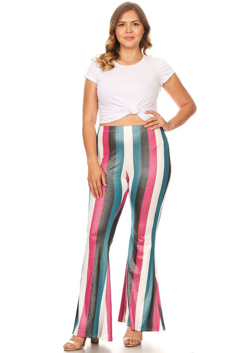 Plus Size Glittery Stripe High Waisted Flare Pant