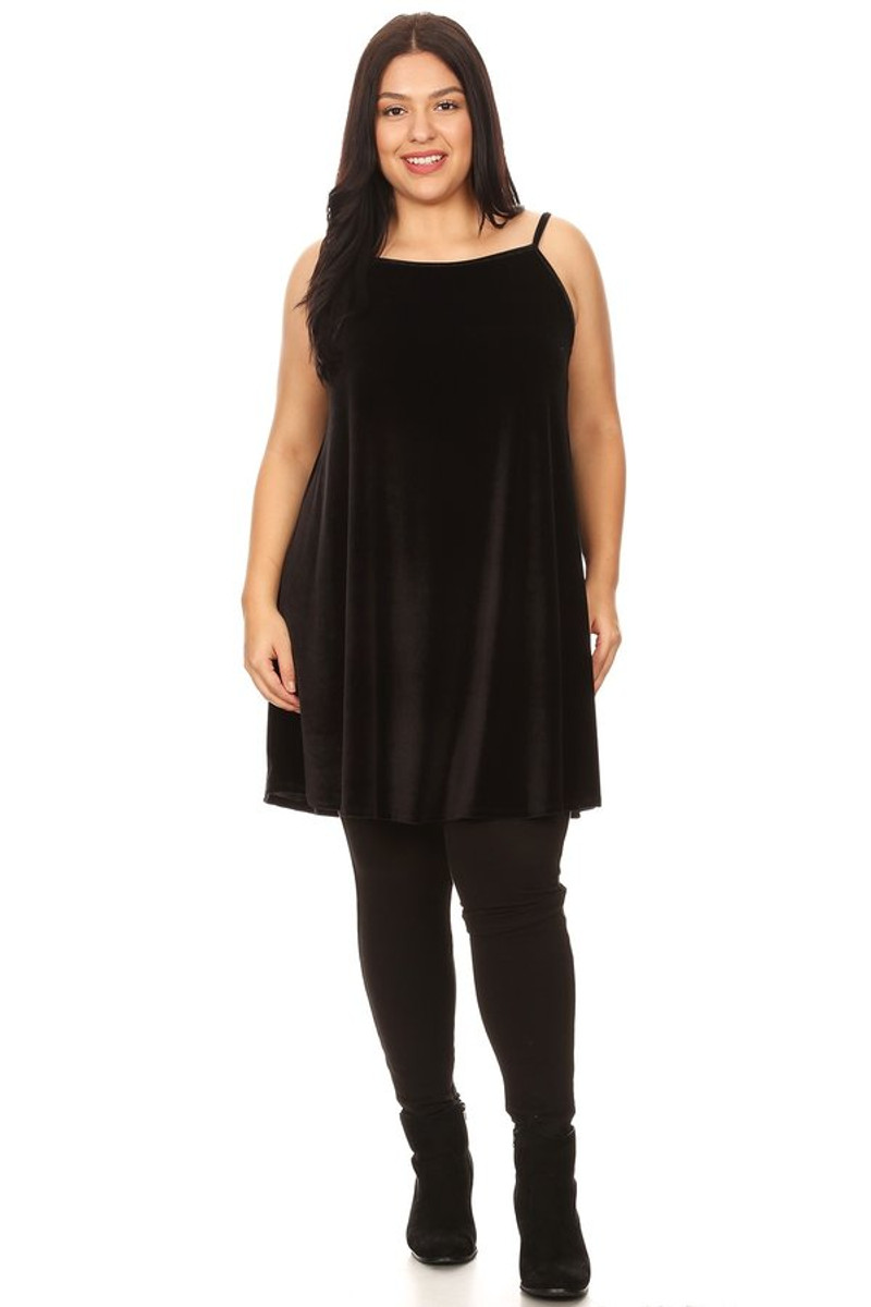 Plus Size Velvet Babydoll Swing Dress