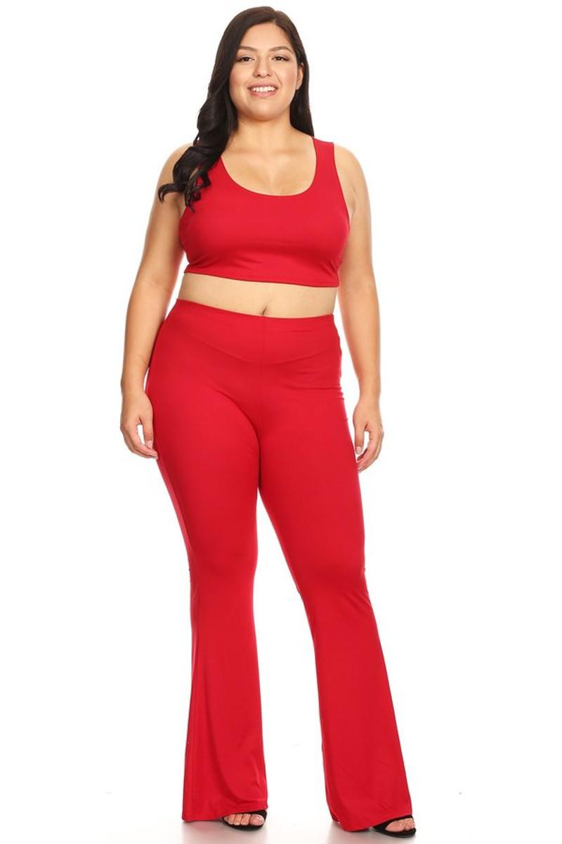 Trendy Plus Solid Crop Top & Flare Pant Set