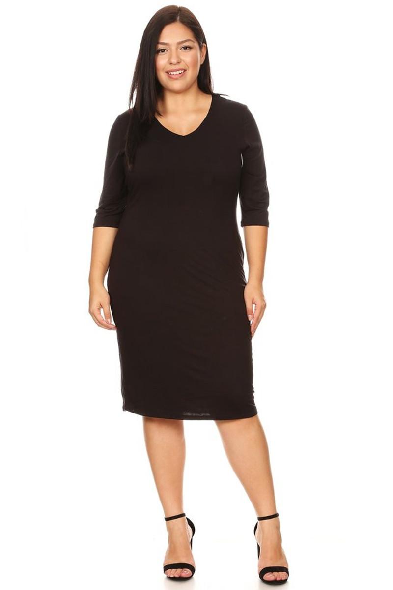 Plus V-Neck Bodycon Midi Dress