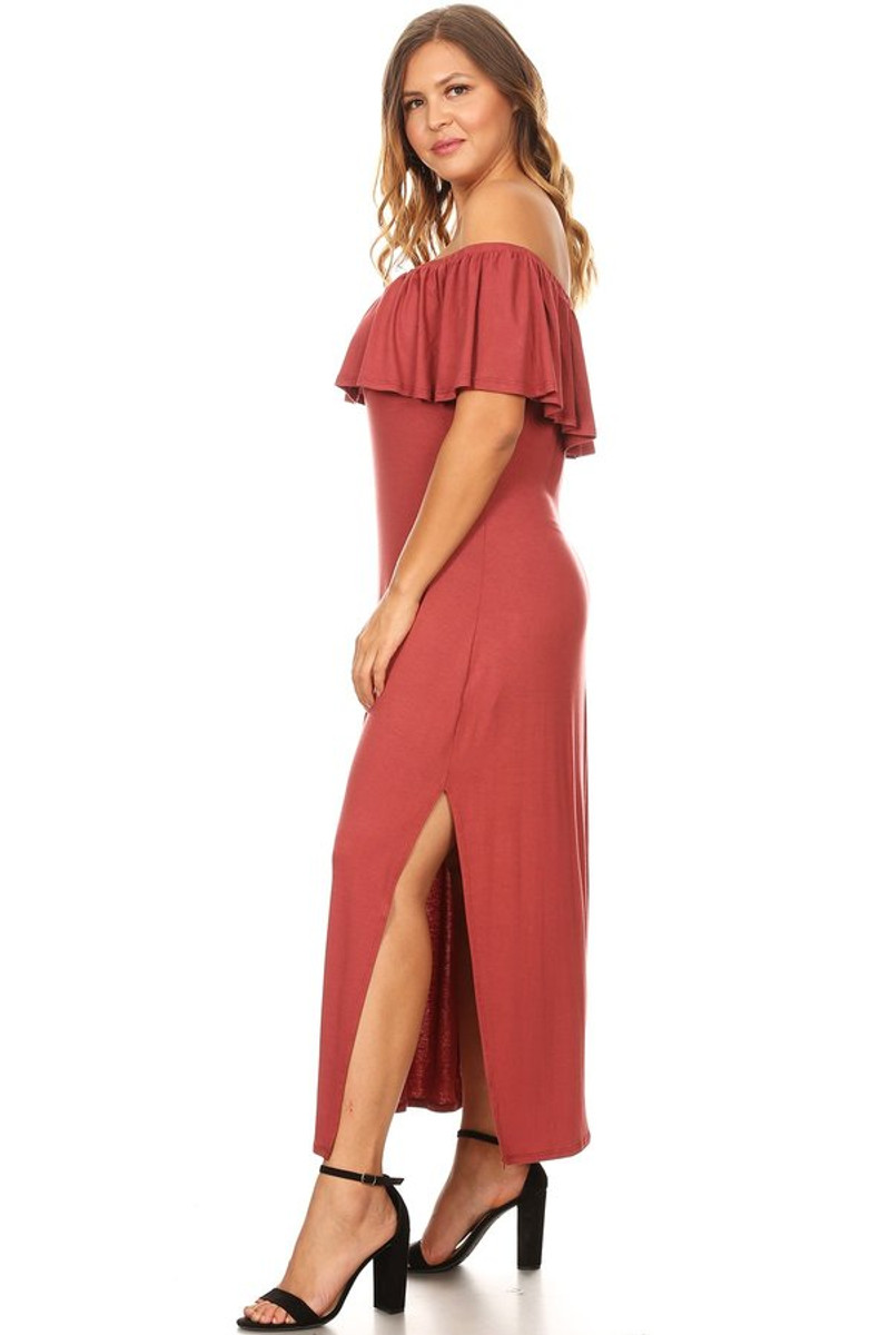 Plus Size Off Shoulder Maxi Dress with Ruffle And Side Slit