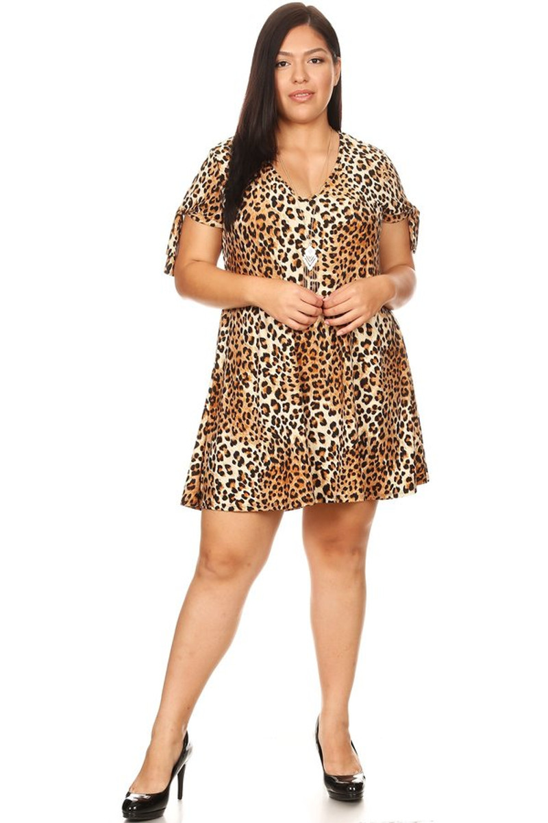 Plus Size Animal Print Tie Sleeve V Neck Swing Dress - Casual Outfit