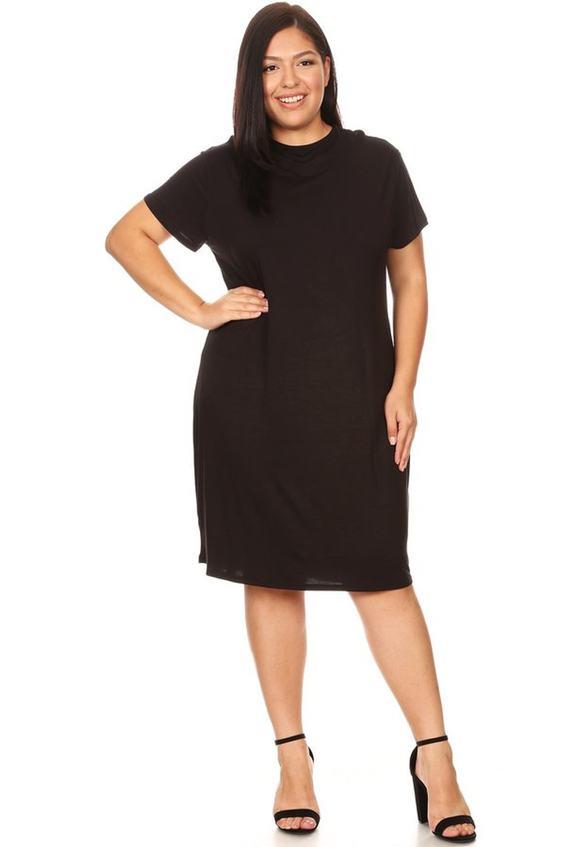 Plus Size Cap Sleeve Lined Mock Neck Midi Dress