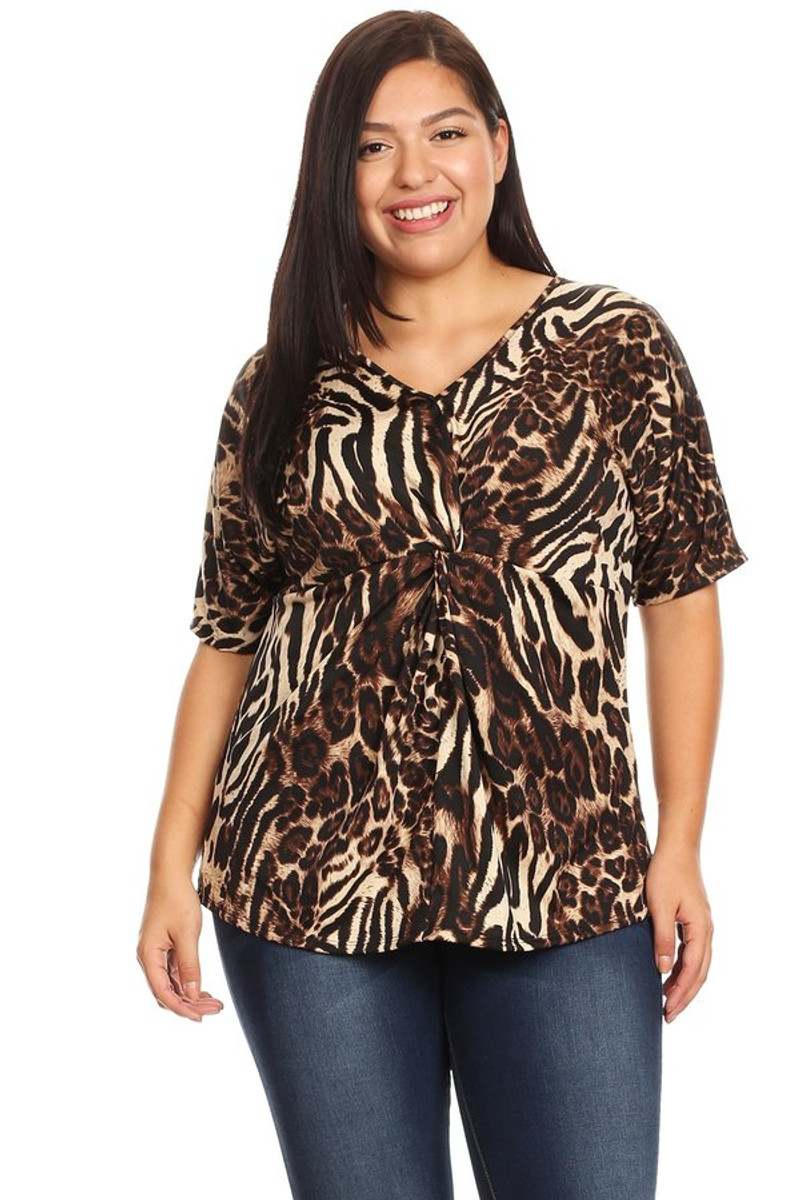 Women's Plus Size Animal Knot Front Top