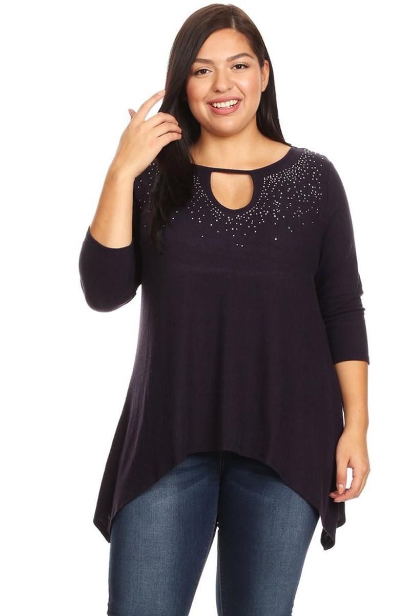 Women's Plus Size Sweater Glitter Top
