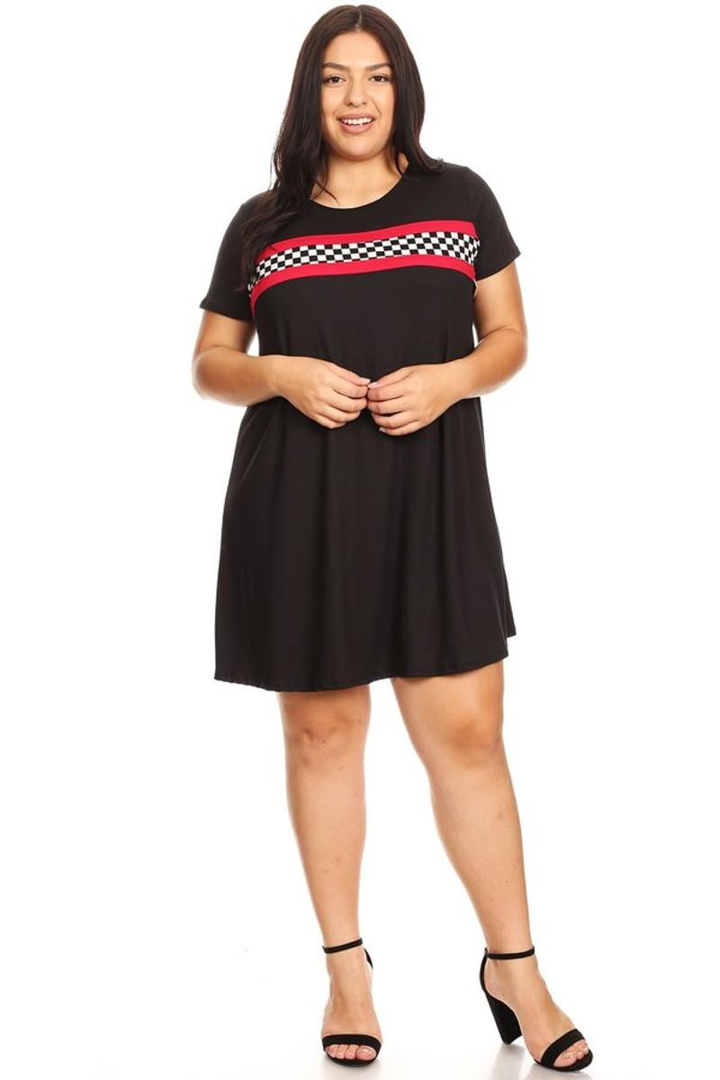 Plus Size Checkered Stripe Ringer Dress