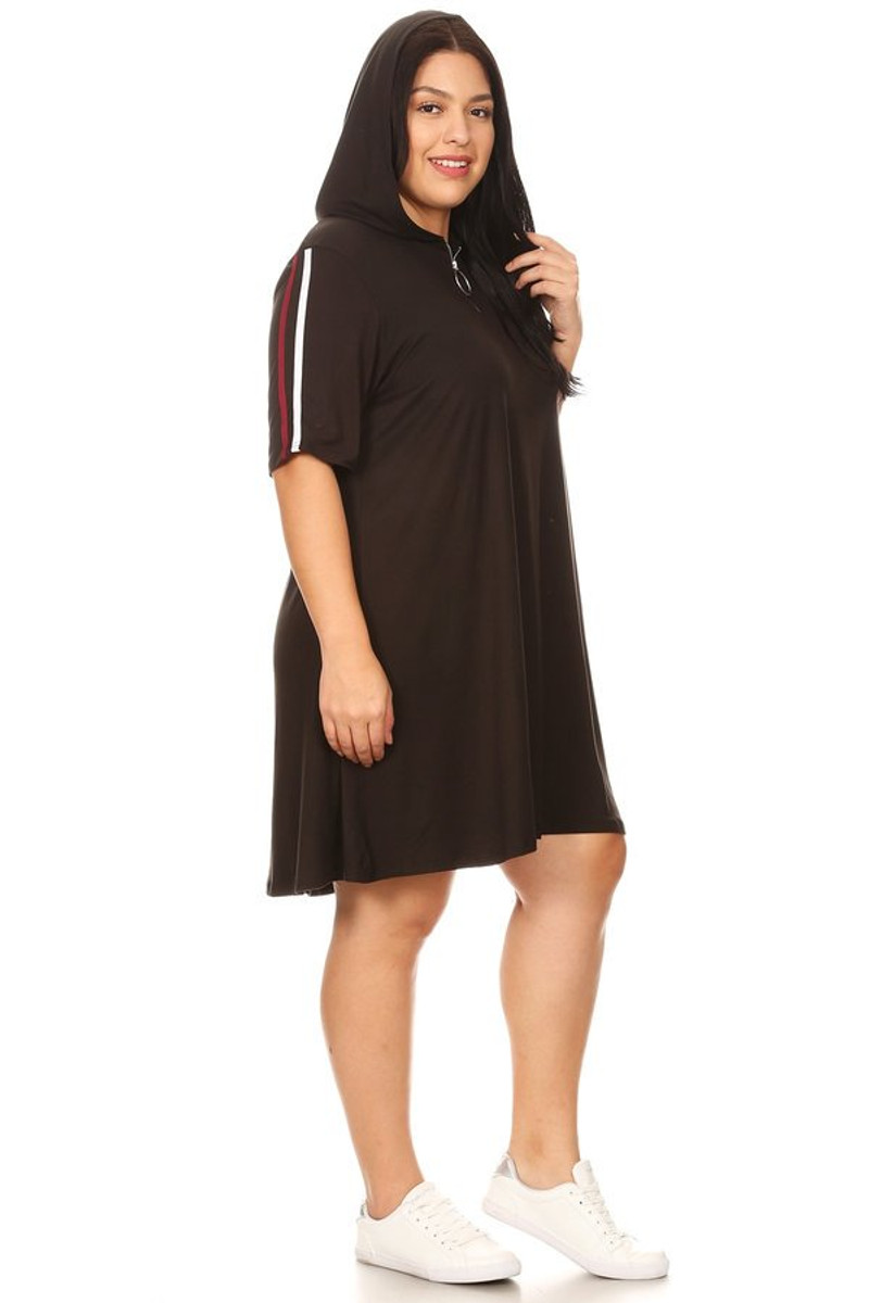 Plus Size Zip Up Hoodie Athletic Stripe Dress