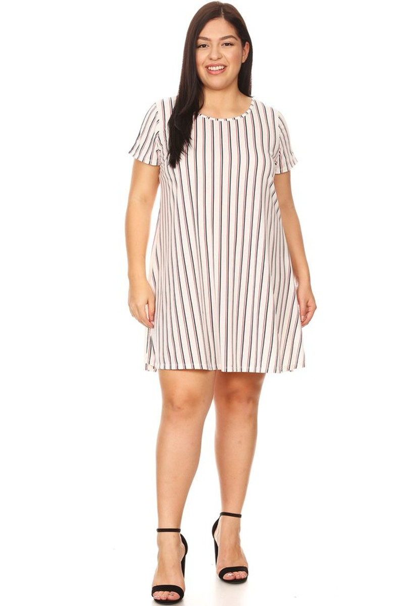 Plus Stripe Print Varsity Stripe Swing Dress