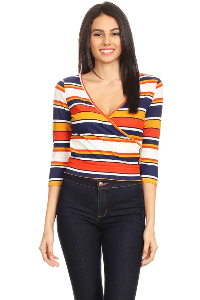 Striped Ribbed V-Neck Button Top