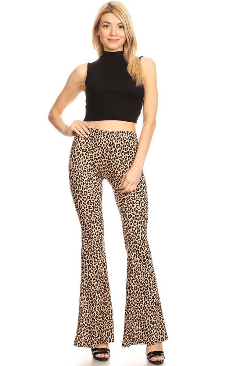 Ribbed Animal Print Flare Pants
