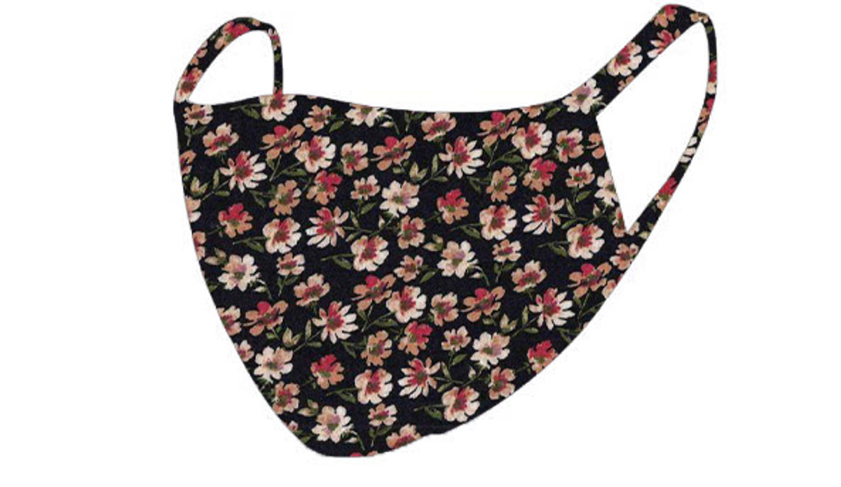 2 Layer Reusable Mask-Black Taupe Floral