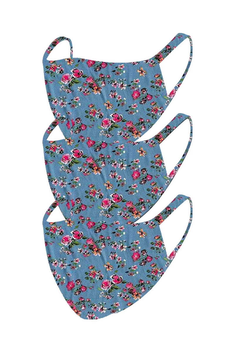 2 Layer Reusable Mask- Blue Fuchsia Floral (3 Pack)