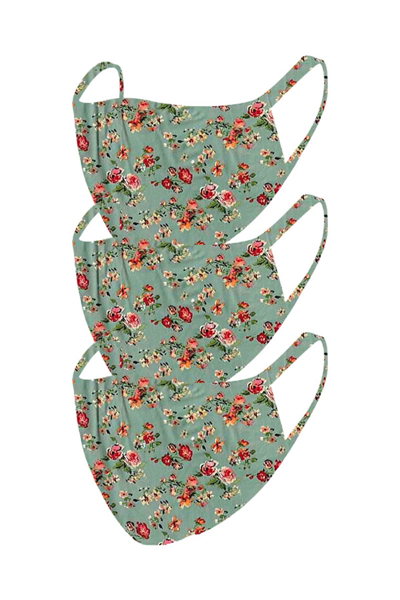 2 Layer Reusable Mask- Sage Rust Floral (3 Pack)