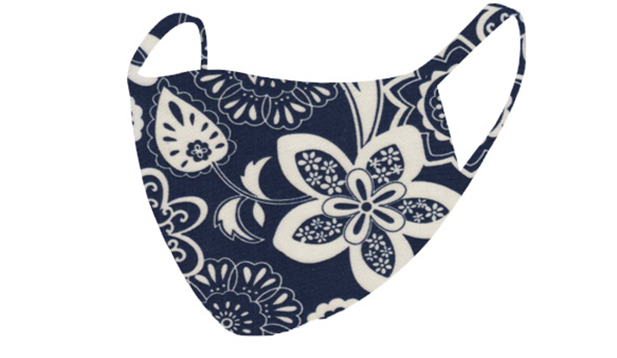 2 Layer Reusable Mask-Navy White Floral