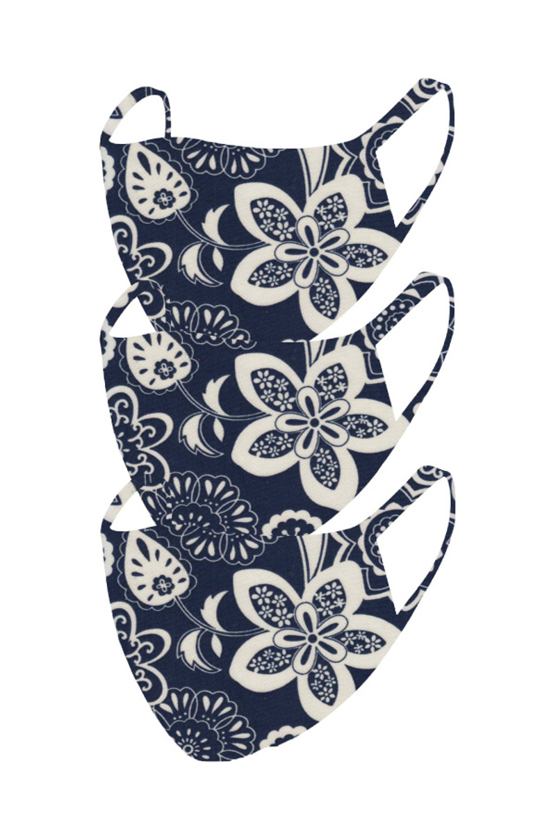 2 Layer Reusable Mask- Navy White Floral (3 Pack)