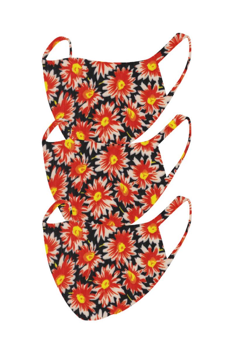 2 Layer Reusable Mask- Black Orange Floral (3 Pack)