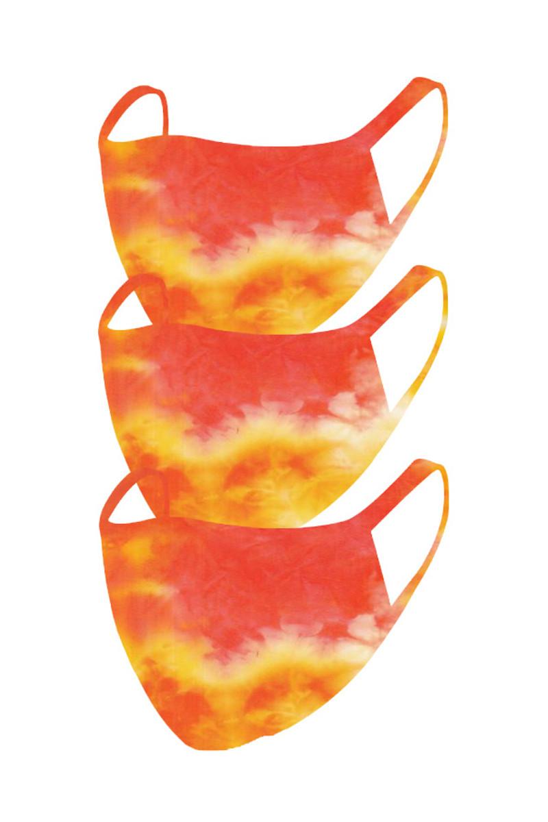 2 Layer Reusable Mask- Orange Yellow Summer Tie Dye (3 Pack)
