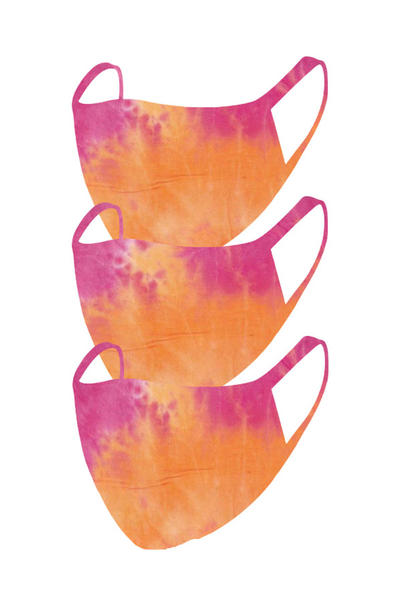 2 Layer Reusable Mask- Orange Fuchsia Summer Tie Dye (3 Pack)