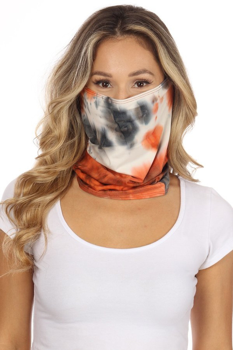 Fashion Neck Gaiter and Face Covering -Black Rust Tie Dye