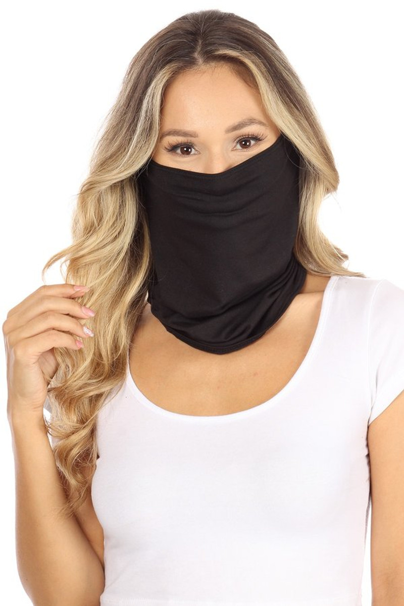 Fashion Neck Gaiter and Face Covering (3 Pack) -Black Solid