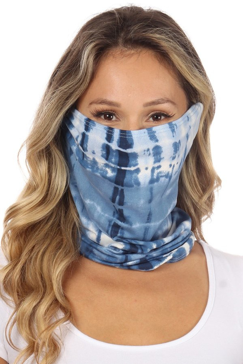 Fashion Neck Gaiter and Face Covering -Denim Tie Dye