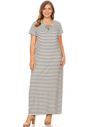 dd2913d32b Plus Size Stripe Lace Up Hooded Maxi Dress - Casual Outfit