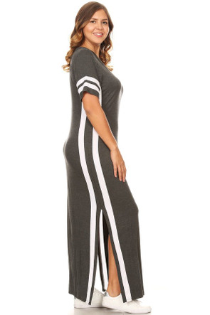 443615c7614 Plus Size Varsity Stripe Side Split Maxi Dress