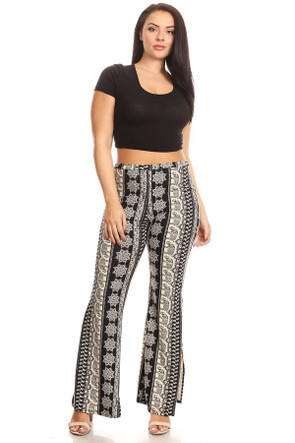 Plus Size Side Slit Bell Bottom Pant