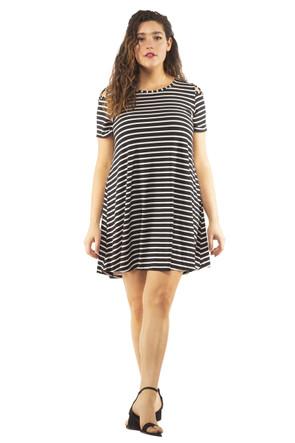 Plus Stripe Shoulder Caging Swing Dress