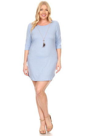 Plus Size Clubwear 3/4 Sleeve Bodycon Dress With Necklace