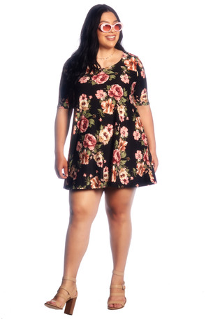 Affordable Plus Size Floral Brushed Swing Dress