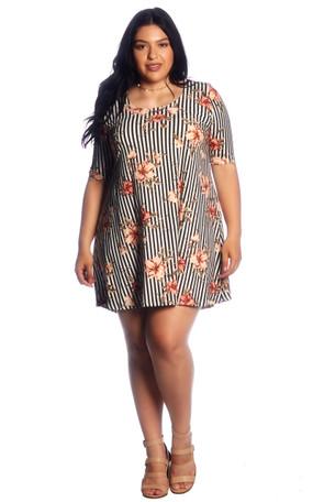 Plus Stripe Floral Brushed Swing Dress