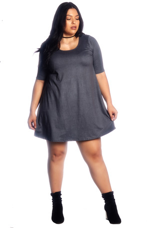 Plus Solid Brushed Swing Dress