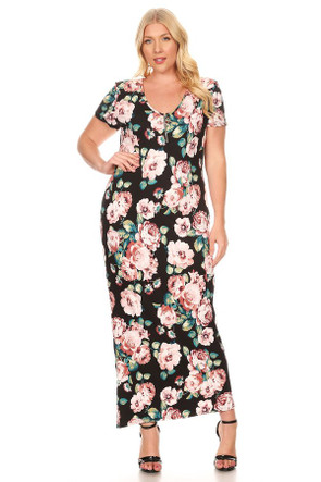 Plus Size Circle Zipper Maxi Dress