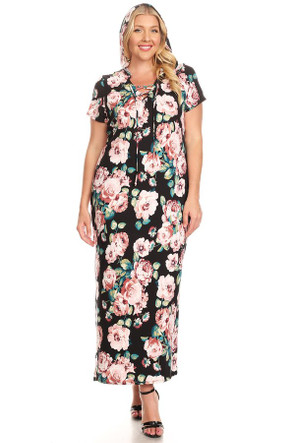 Plus Lace Up Hooded Floral Maxi Dress