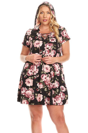Plus Lace Up Hooded Swing Dress