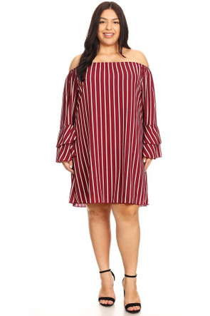 Plus Size Clubwear Woven Off The Shoulder Sleeve Dress