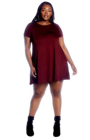 Plus Textured Pocket Front Swing Dress
