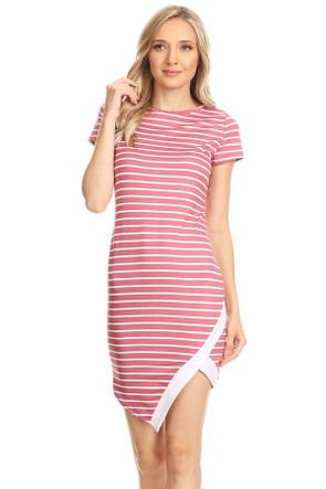 Asymmetrical Bodycon Contrast Dress