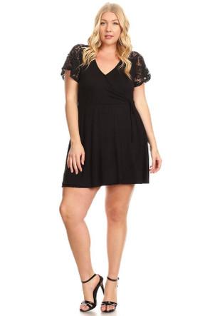 Plus Soft Knit Lace Sleeve Wrap Dress