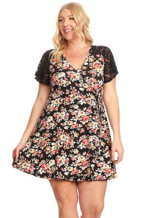 Affordable Plus Size Lace Sleeve Wrap Dress