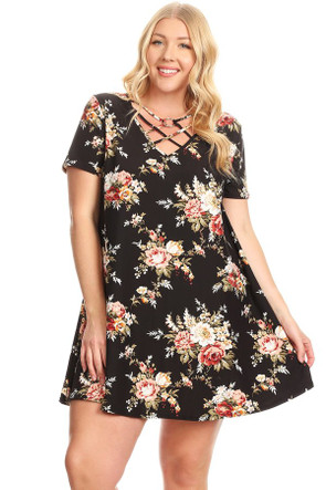 Plus O-Ring Cage Front Swing Dress