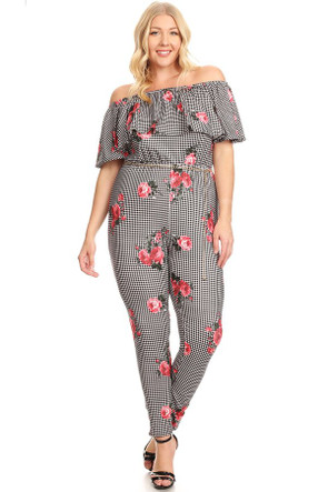 Off The Shoulder Floral Check Ruffle Jumpsuit With Belt