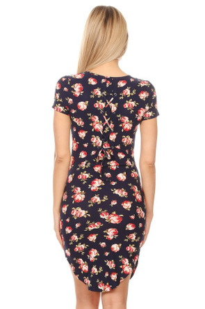 Floral Gromet Back Tie Body Con Dress