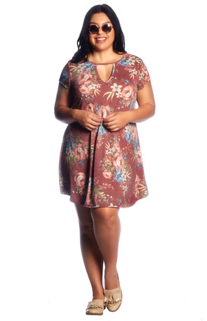 Plus Keyhole Trapeze Floral Dress