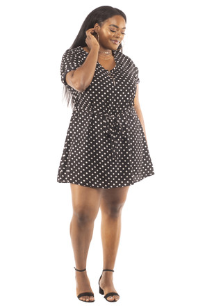 Plus Size Clubwear Woven Zip Up Mini Dress