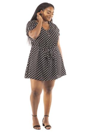 Plus Size Clubwear Woven Zip Up Mini Dress